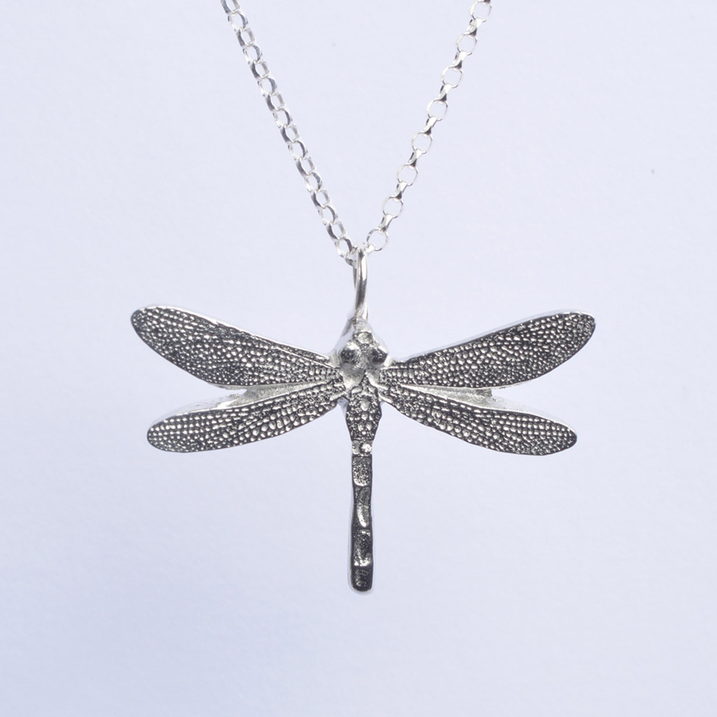large necklace white dragonfly and gold diamond pendant